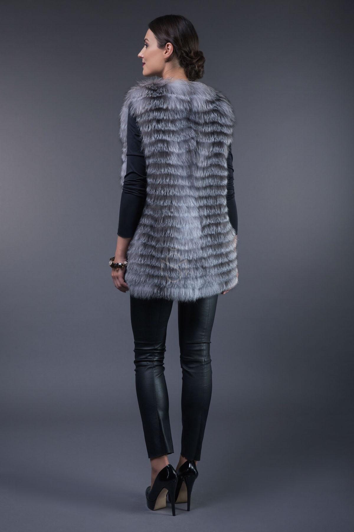 Silver foxfur vest