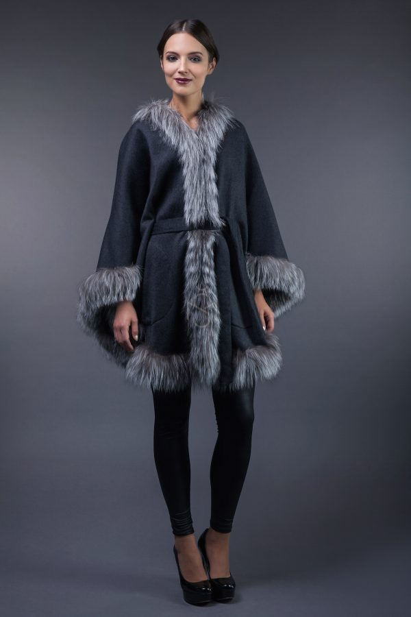 Fox fur and cashmere poncho