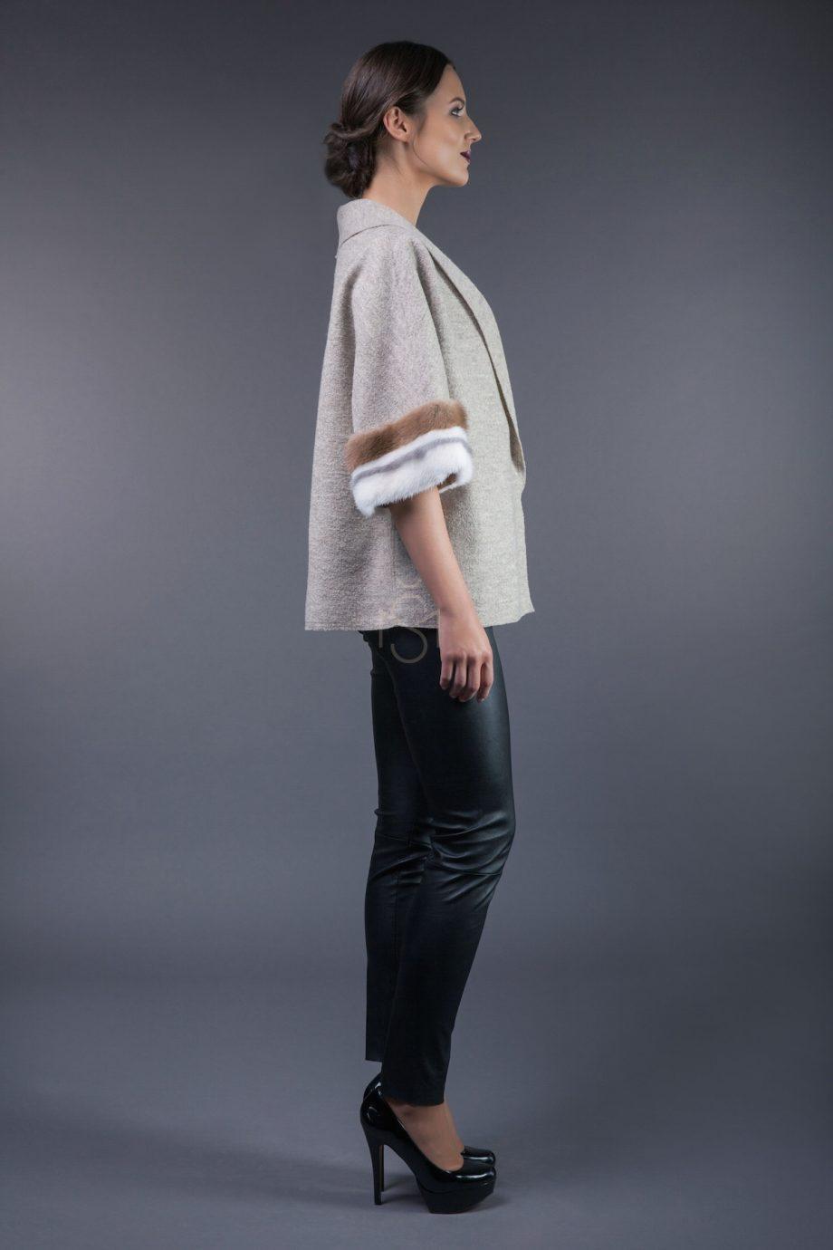 Wool jacket with mink fur decoration
