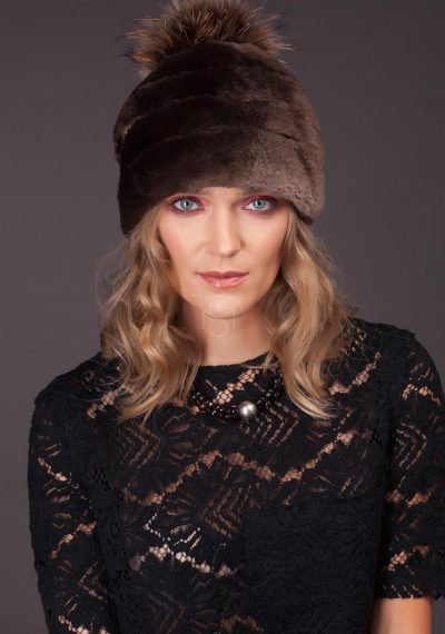 Beaver fur hat with pom pom