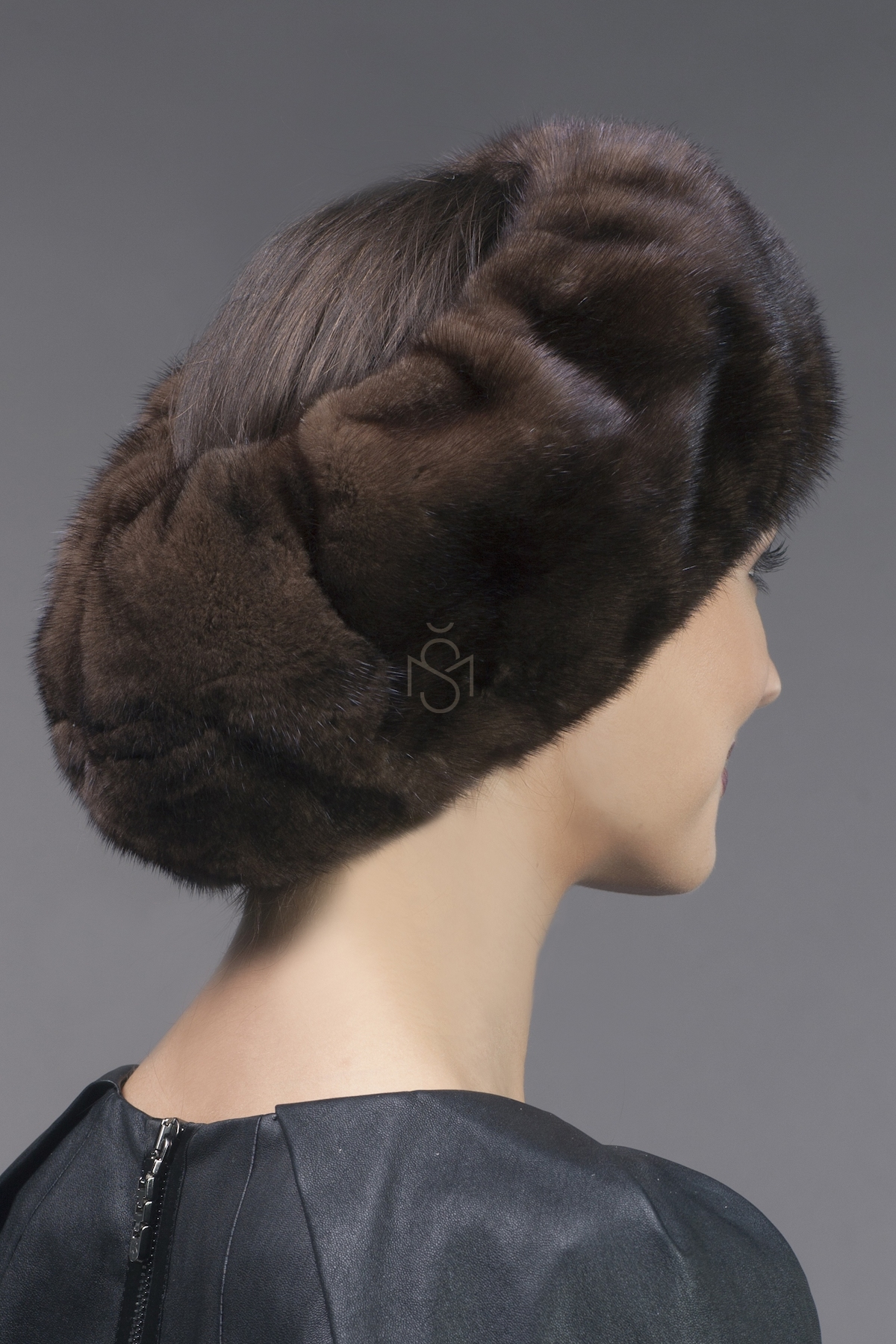 mink fur head muff