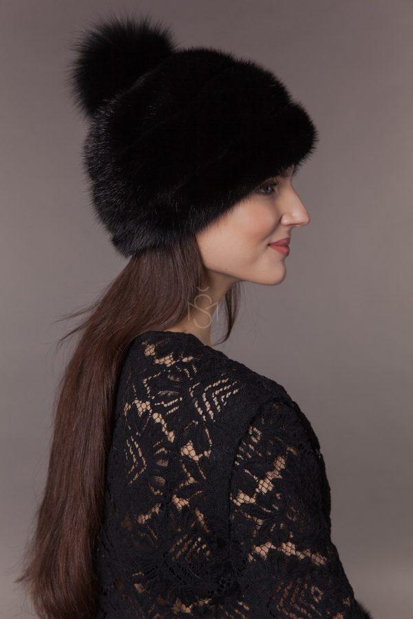 mink fur hat with fox fur pom-pom