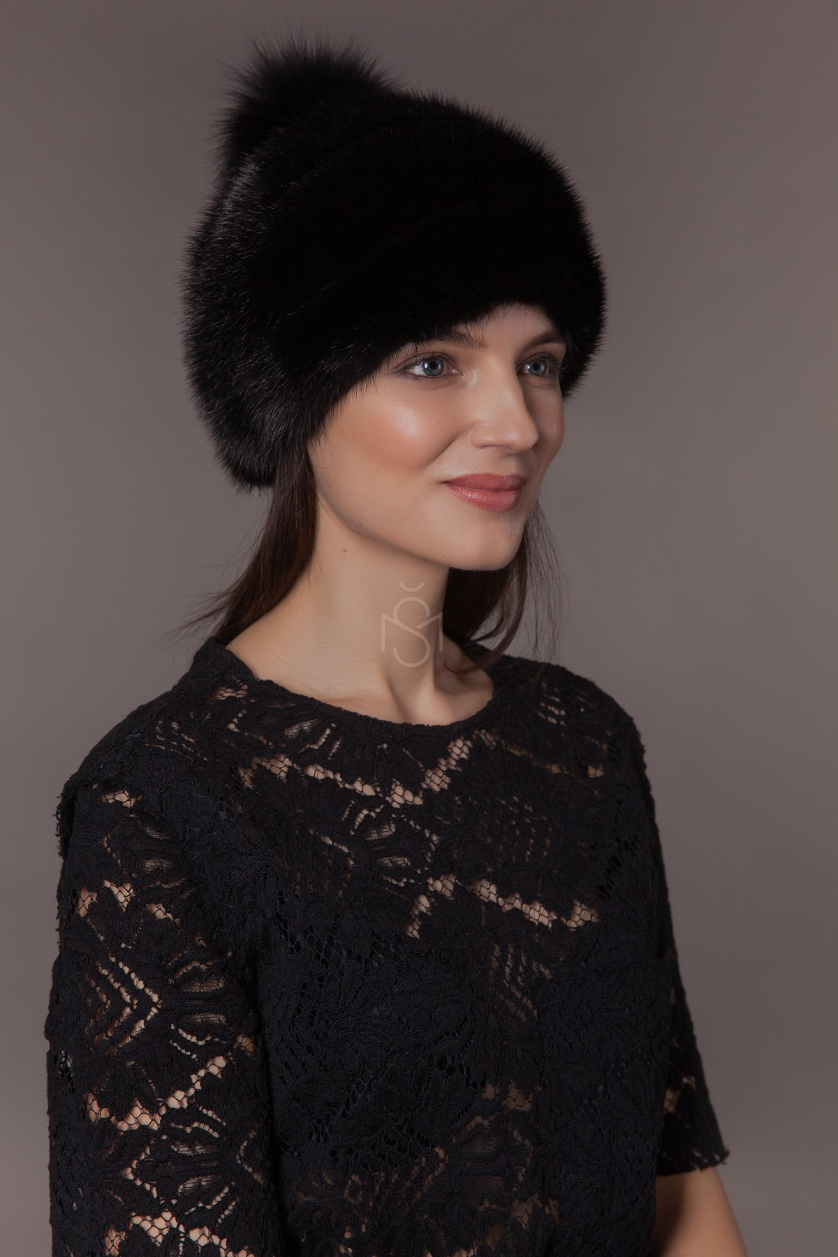mink fur hat with fox fur pom-pom