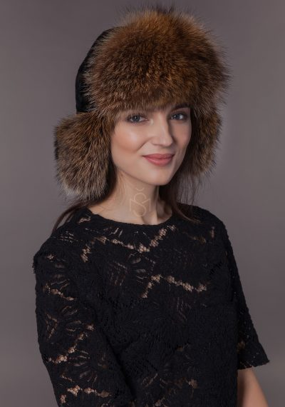 Sheepskin and raccoon fur hat