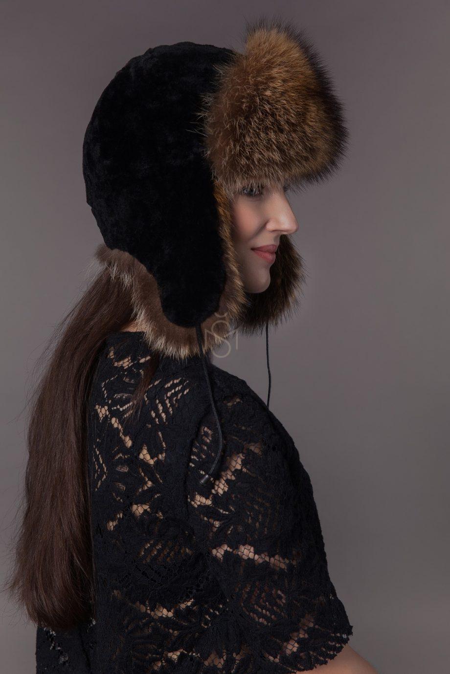 Sheepskin and raccoon fur hat