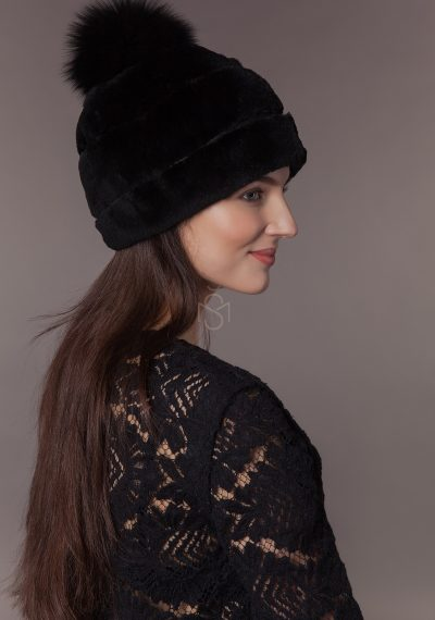 Beaver fur hat with fox fur pom-pom