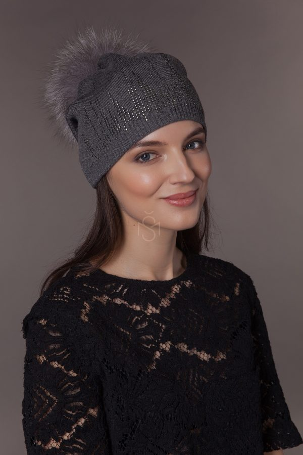 hat with fox fur pom pom