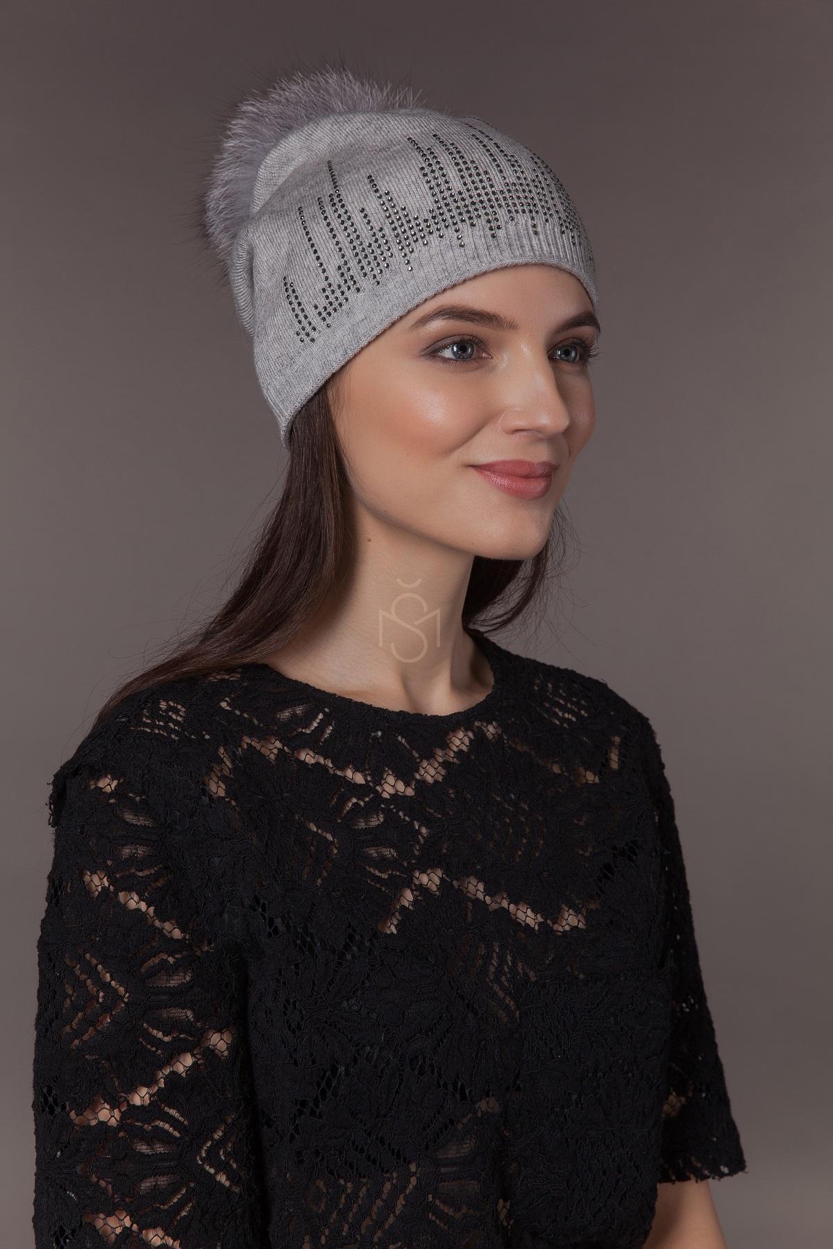 hat with fox fur pom pom
