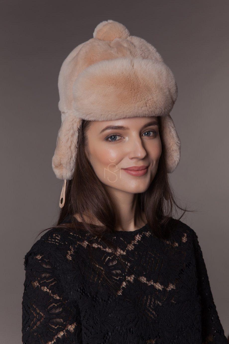 Детская шапка из меха рекса (шиншиллового кролика)