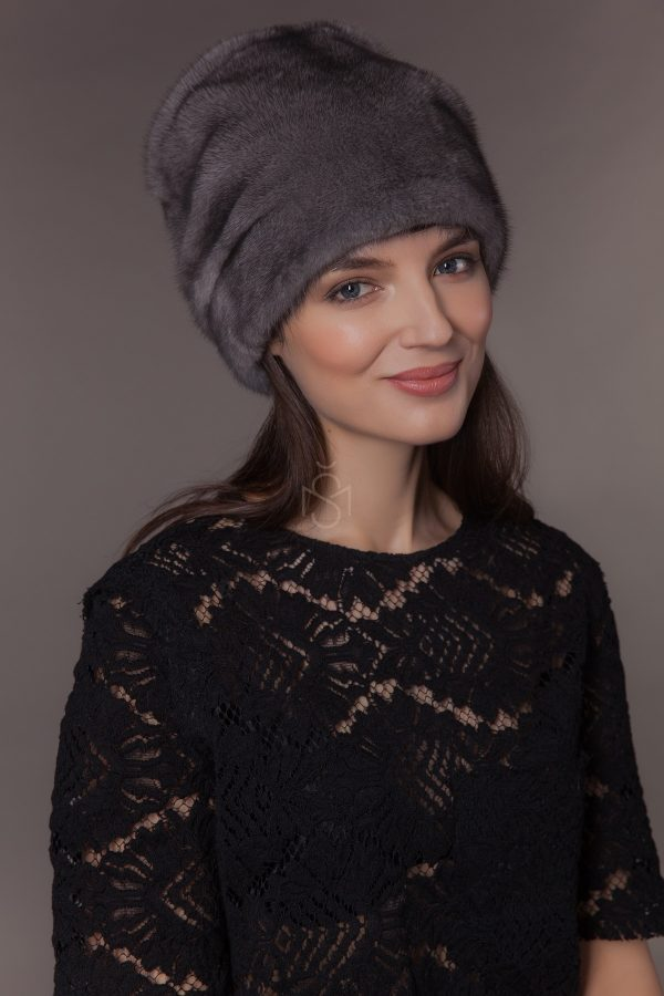 mink fur hat, natural blue iris color