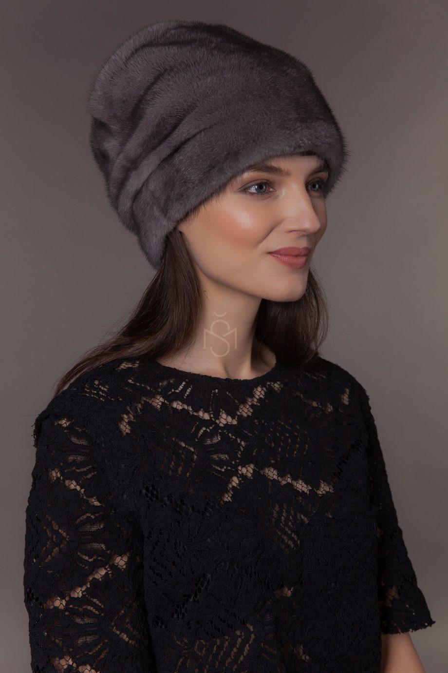 Норковая шапка, цвет Blue Iris