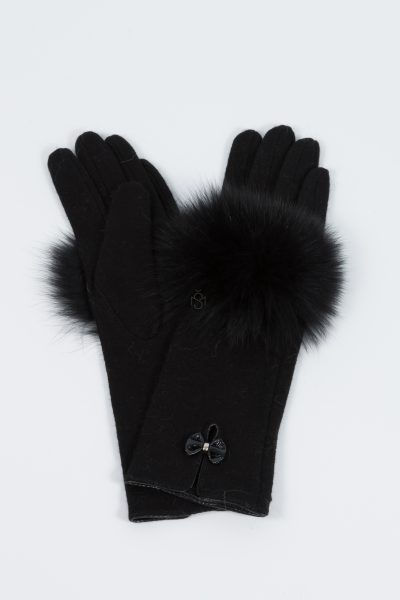 Woolen gloves with black fox fur decoration made by SILTA MADA fur studio in Vilnius