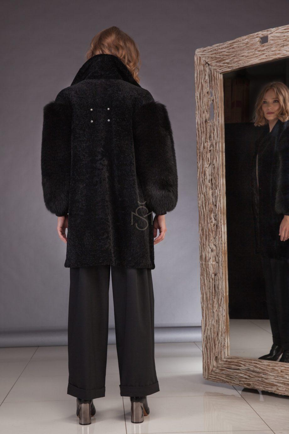 Sheepskin coat with fox fur sleeves_black_made by SILTA MADA fur studio in Vilnius