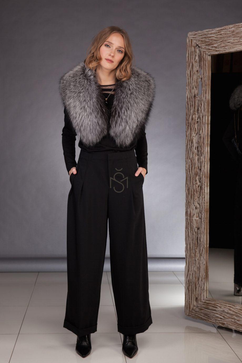 Silver fox fur collar, natural color made by SILTA MADA fur studio in Vilnius