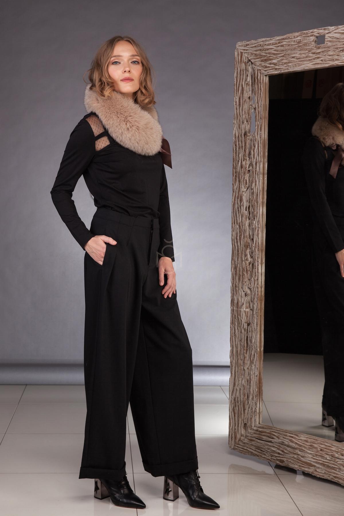 Fox fur scarf, color light brown made by SILTA MADA fur studio in Vilnius