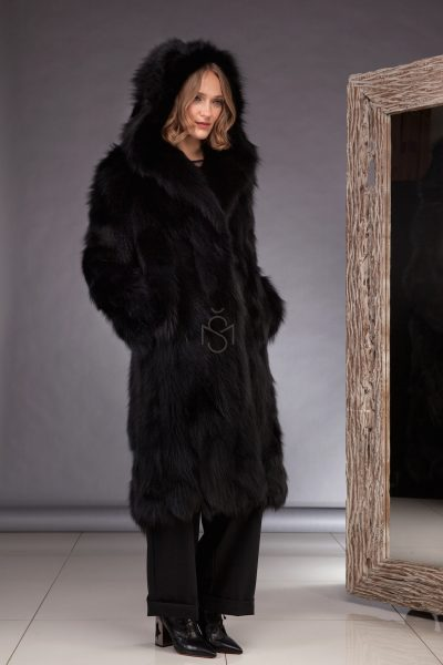Fox fur coat black made by SILTA MADA fur studio in Vilnius