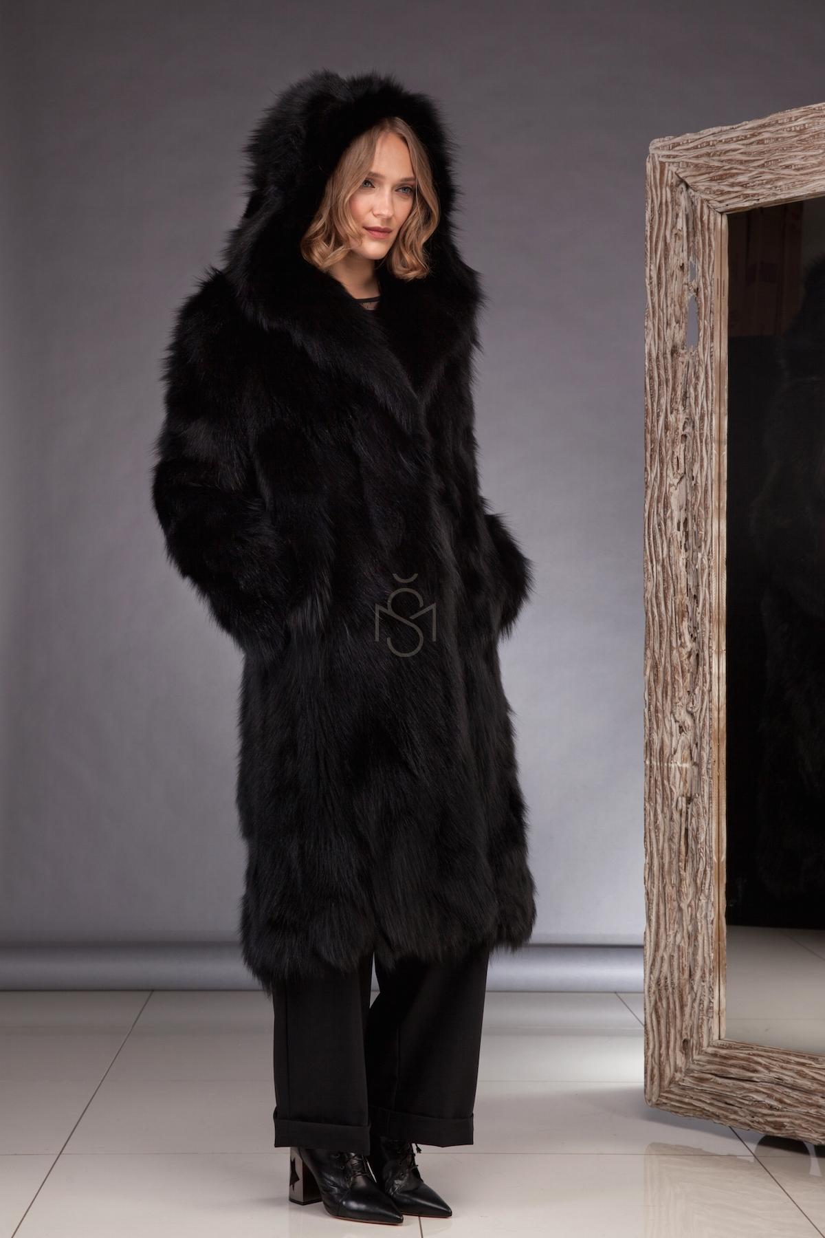 Fox fur coat black made by SILTA MADA fur studio in Vilnius