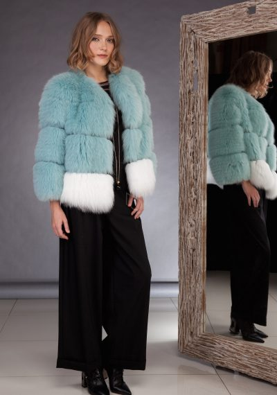 Fox fur jacket, two colors combined made by SILTA MADA fur studio in Vilnius