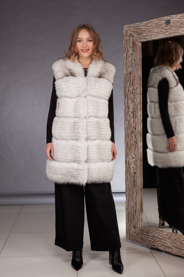 High quality northern fox fur vest made by SILTA MADA fur studio in Vilnius
