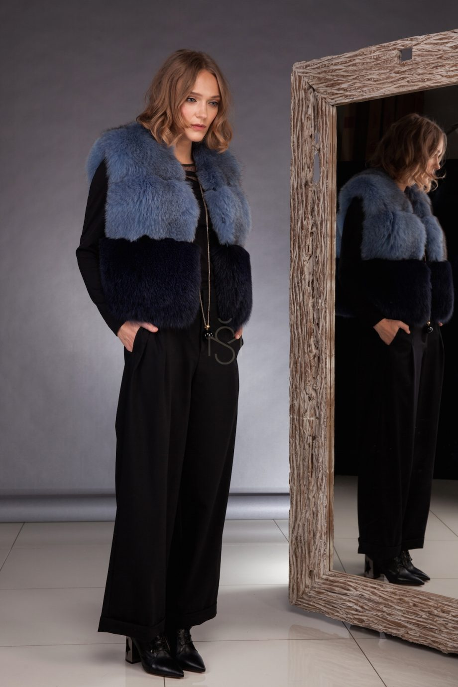 Contrast fox fur vest made by SILTA MADA fur studio in Vilnius