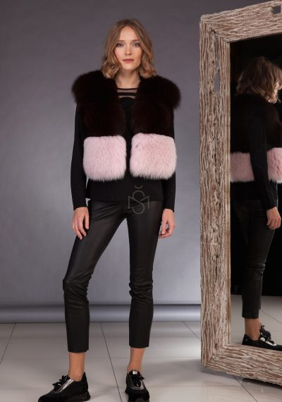 High quality contrast fox fur vest made by SILTA MADA fur studio in Vilnius