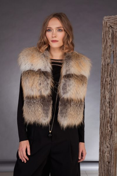 High quality fox fur vest made by SILTA MADA fur studio in Vilnius