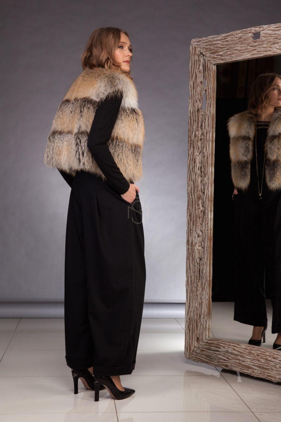 High quality fox fur vest made by SILTA MADA fur studio in Vilnius