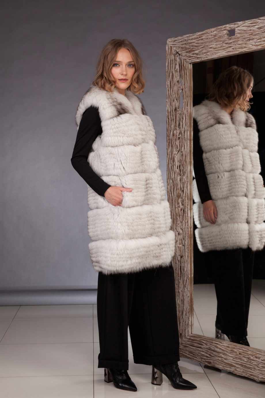 High quality northern fox fur vest made by SILTA MADA fur studio in Vilnius