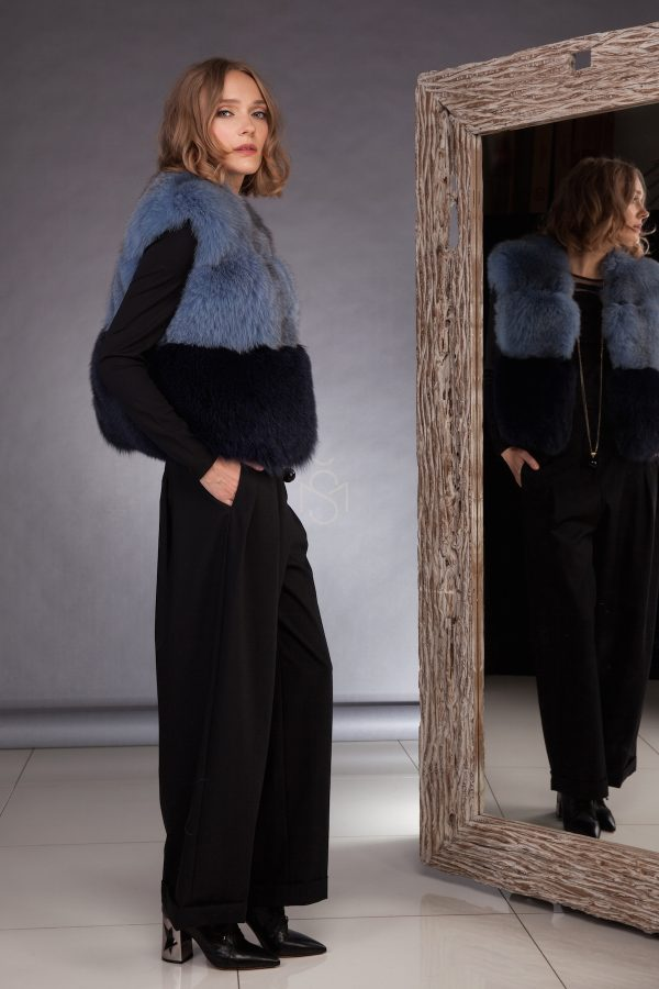 Contrast fox fur vest made by SILTA MADA fur studio in Vilnius