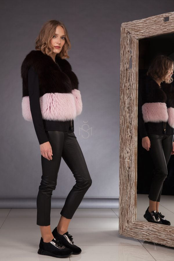 High qualitycontrast fox fur vest made by SILTA MADA fur studio in Vilnius