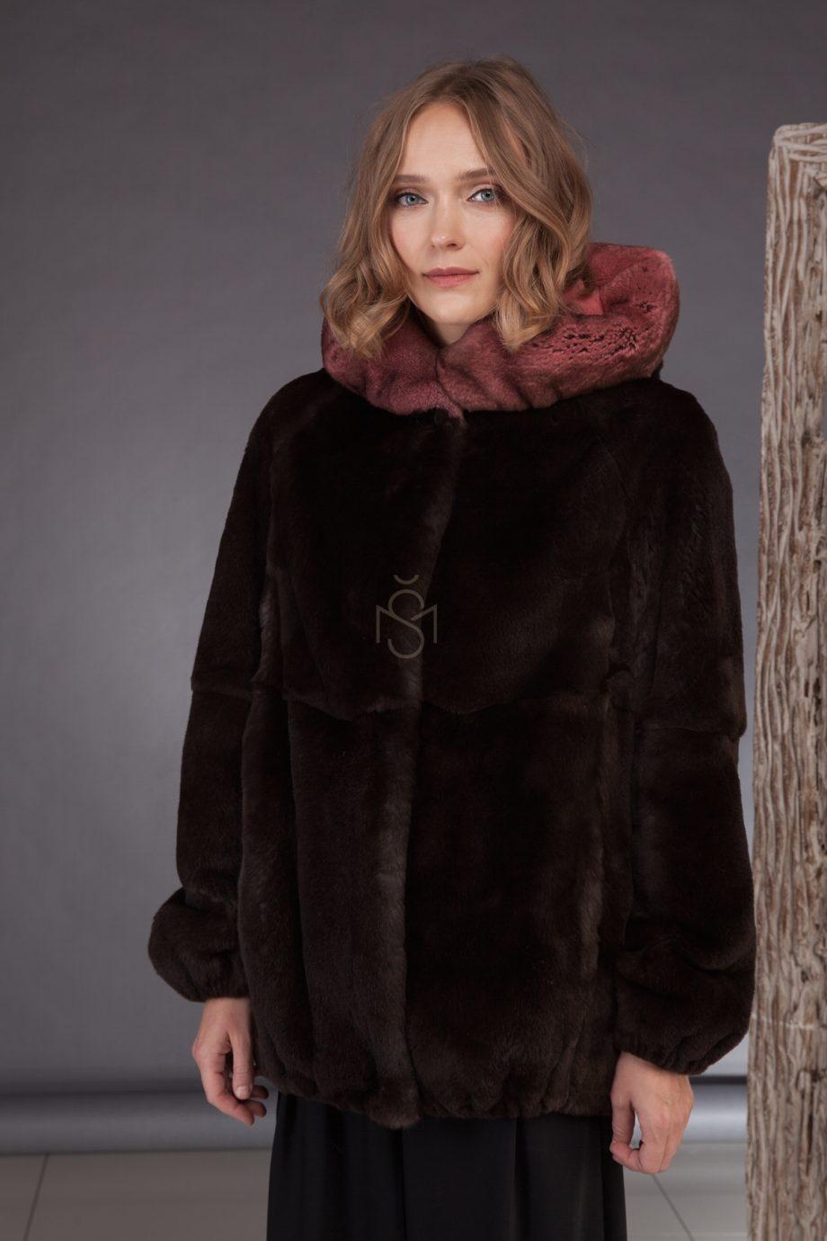 Rex rabbit fur jacket with hood made by SILTA MADA fur studio in Vilnius