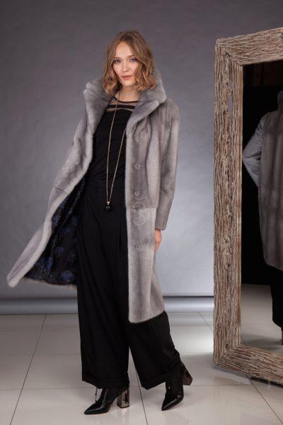 Sapphire mink fur coat made by SILTA MADA fur studio in Vilnius