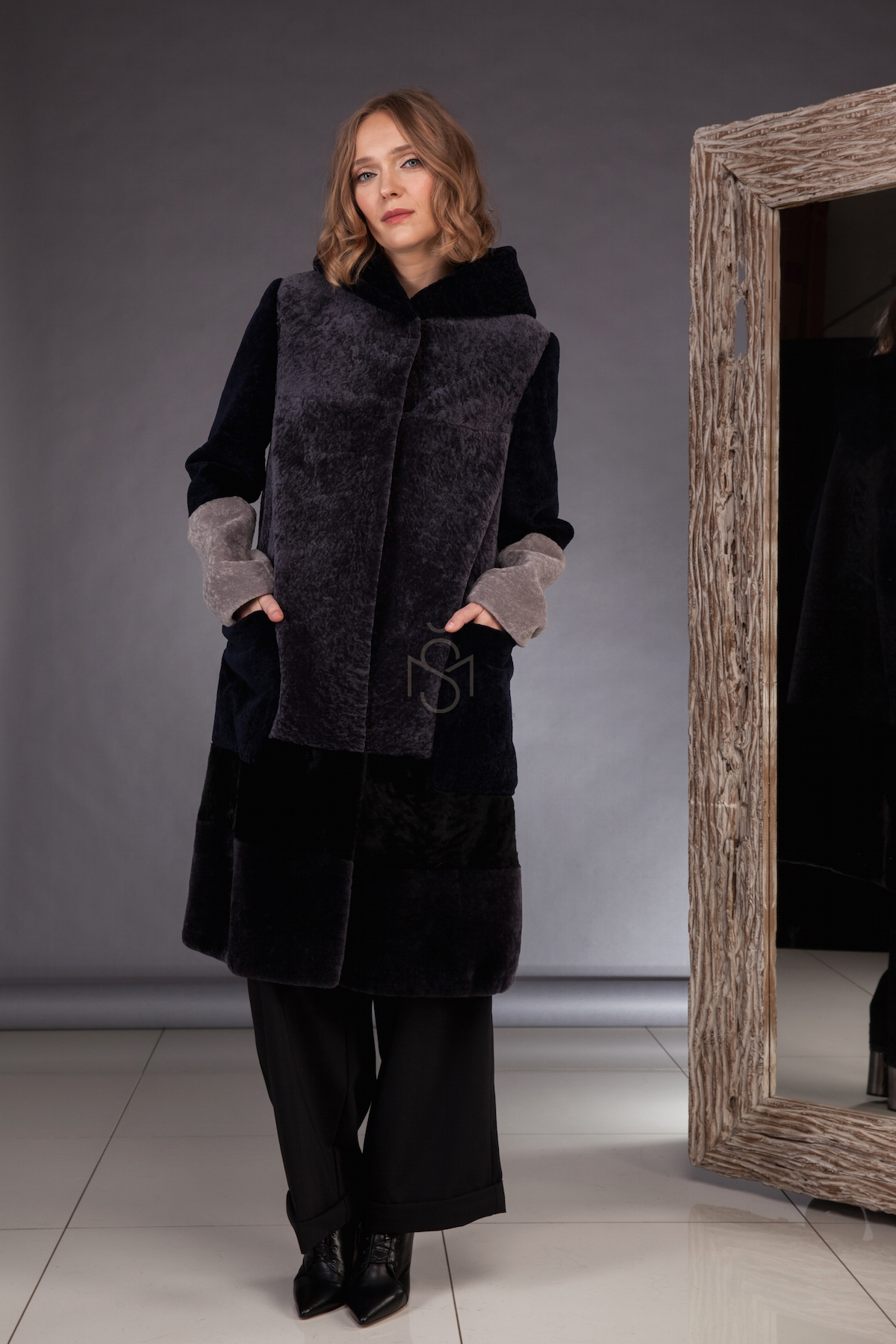 Contrast sheepskin coat  made by SILTA MADA fur studio in Vilnius