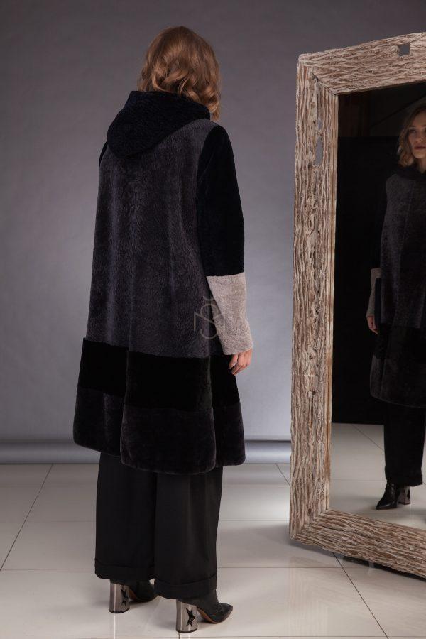 Contrast sheepskin coat  made by SILTA MADA fur studio in Vilnius