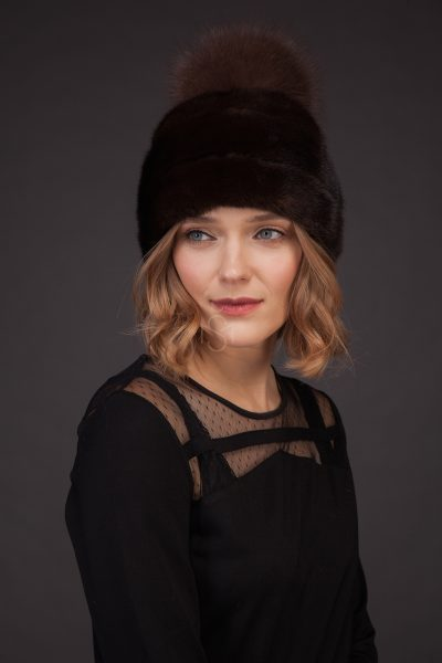 Mink fur hat with pom-pom natural brown made by SILTA MADA fur studio in Vilnius