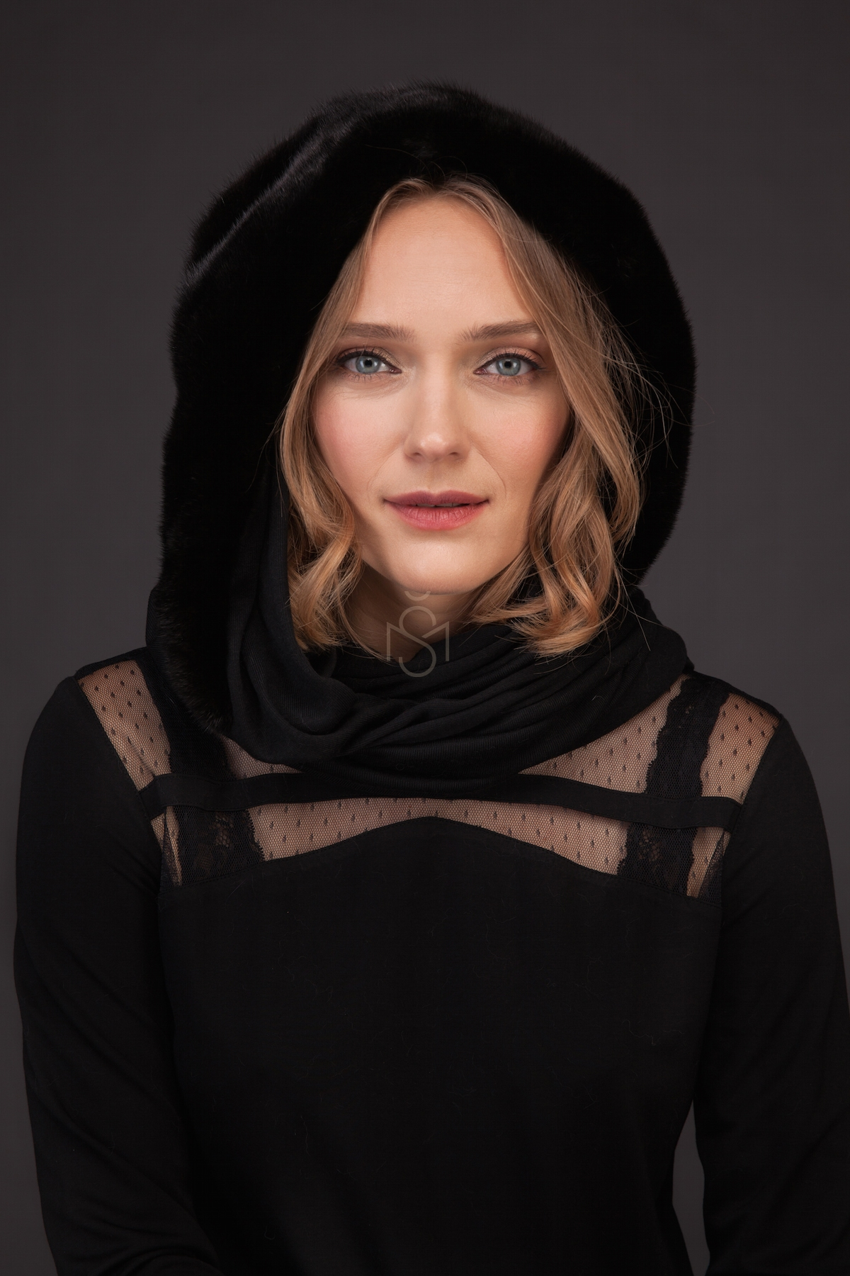 Mink fur shawl black color made by SILTA MADA fur studio in Vilnius