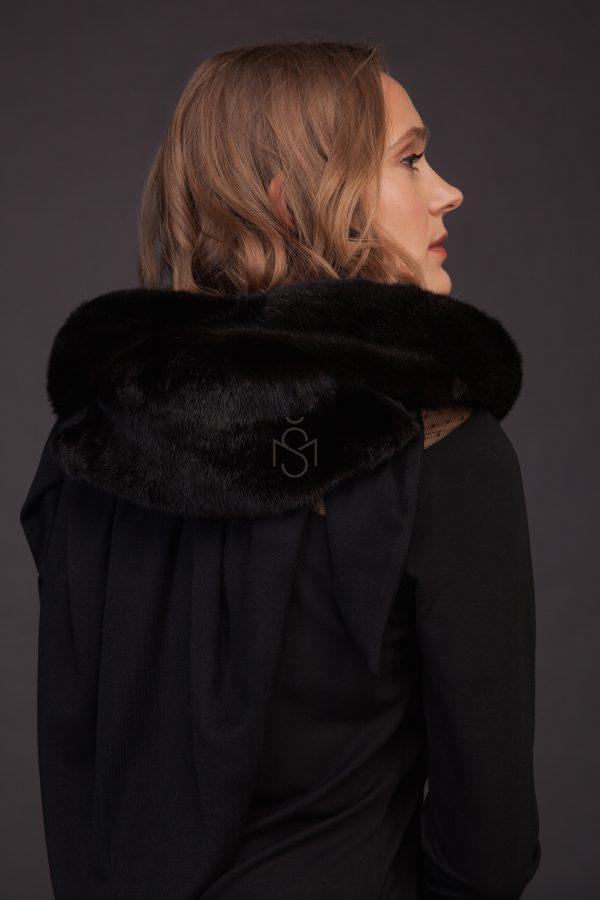 Mink fur shawl black color made by SILTA MADA fur studio in Vilnius
