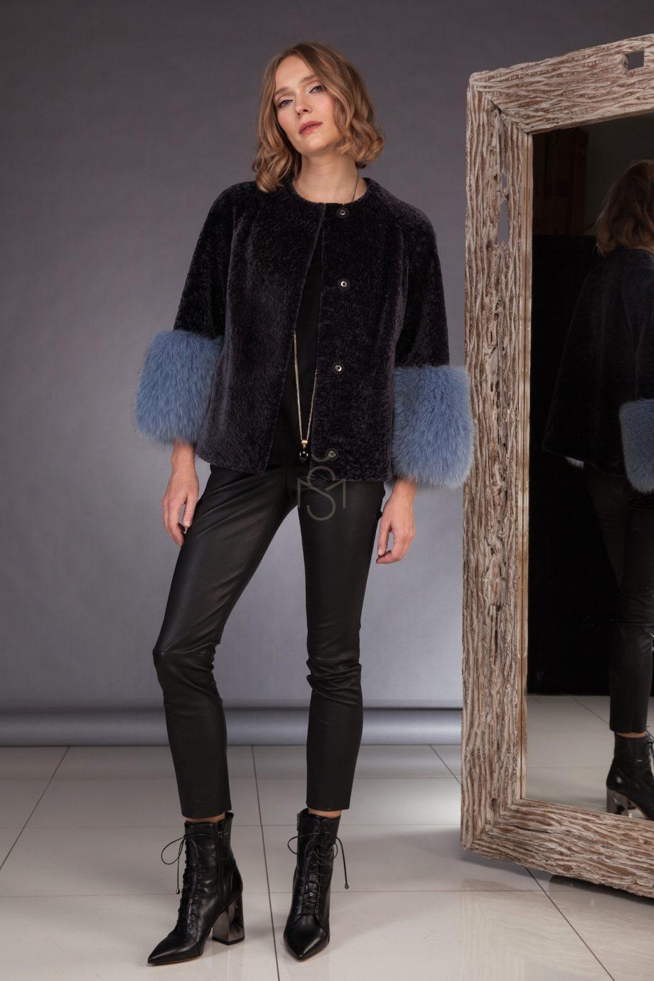 Sheepskin coat with fox fur sleeves made by SILTA MADA fur studio in Vilnius