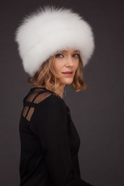 Fox fur hat with leather inserts made by SILTA MADA fur studio in Vilnius