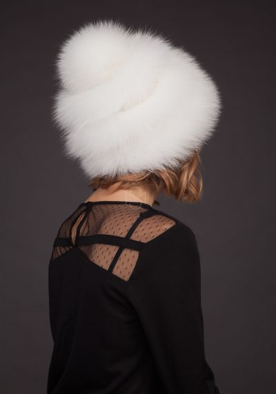 Fox fur hat with pom-pom and leather inserts, natural white color, made by SILTA MADA fur studio in Vilnius