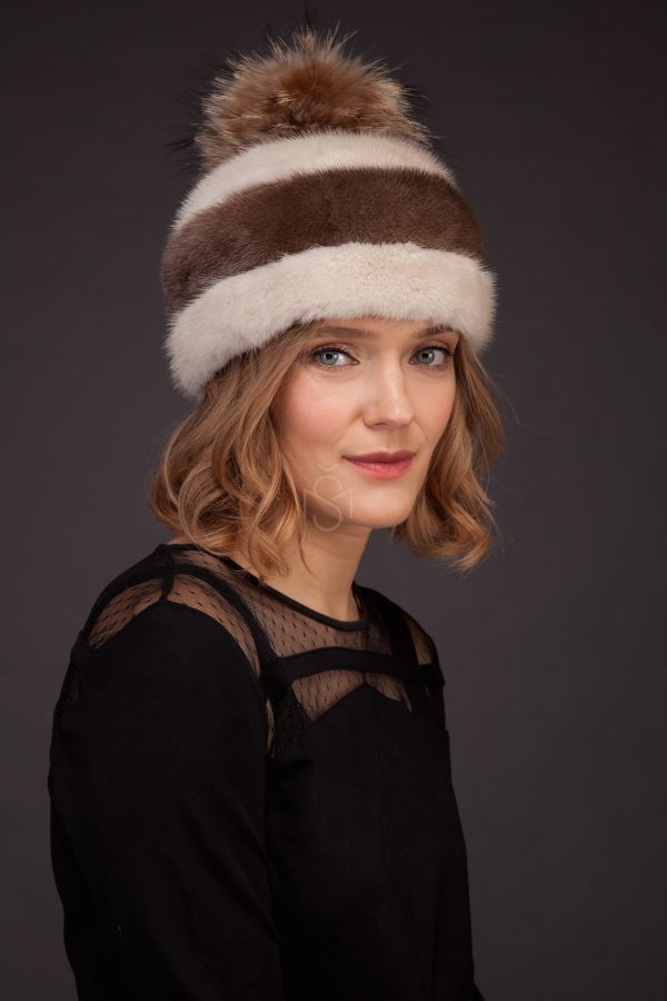 Combined mink fur hat with pom-pom and leather inserts made by SILTA MADA fur studio in Vilnius