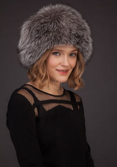 Silver fox fur hat made by SILTA MADA fur studio in Vilnius