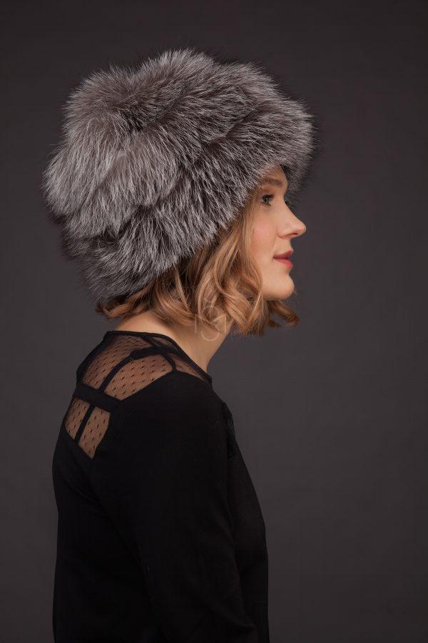 Silver fox fur hat made by SILTA MADA fur studio in Vilnius