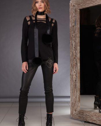 Ribbon with fox fur pom-poms_black  made by SILTA MADA fur studio in Vilnius