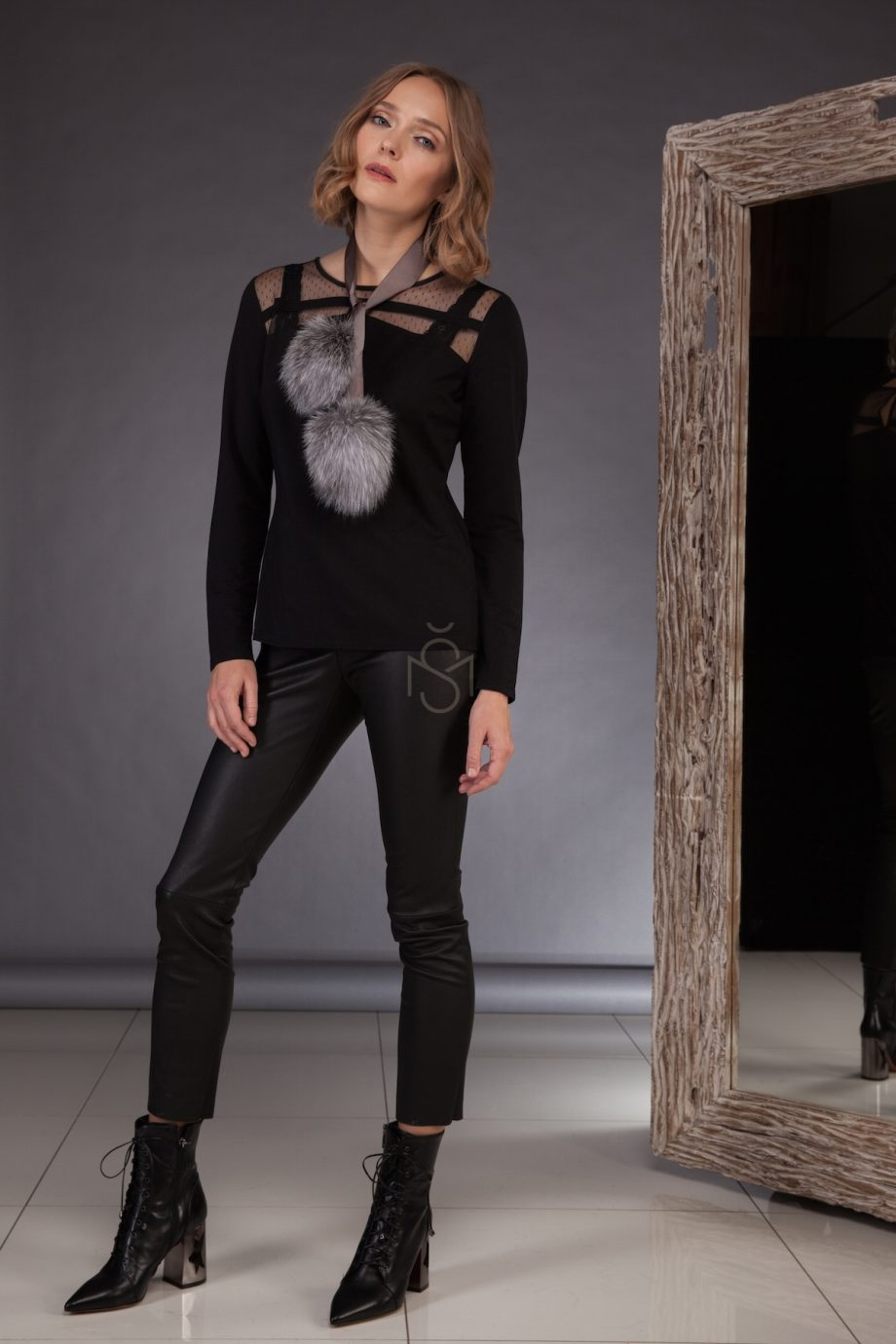 Ribbon with silver fox pom-poms made by SILTA MADA fur studio in Vilnius