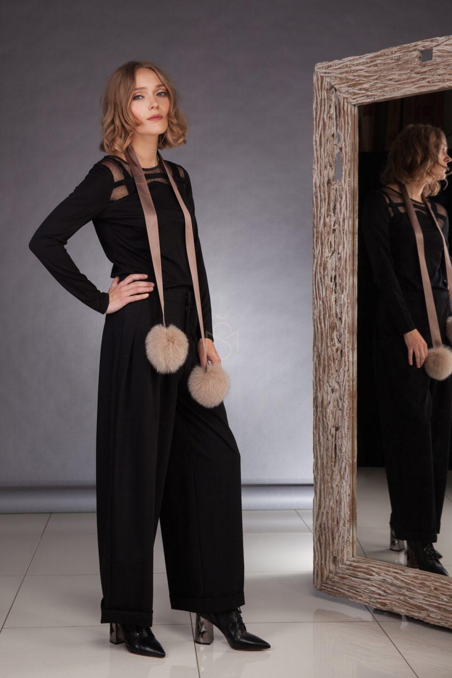Ribbon with fox fur pom-poms_brown_made by SILTA MADA fur studio in Vilnius