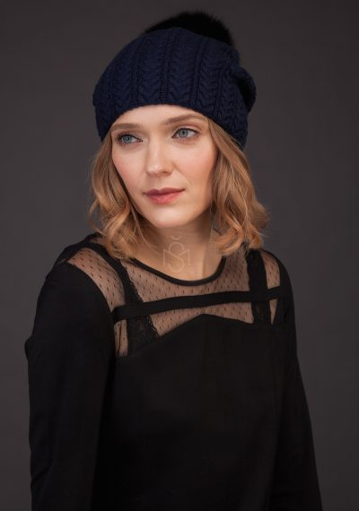 Cashmere hat with fox fur pom_pom_blue made by SILTA MADA fur studio in Vilnius