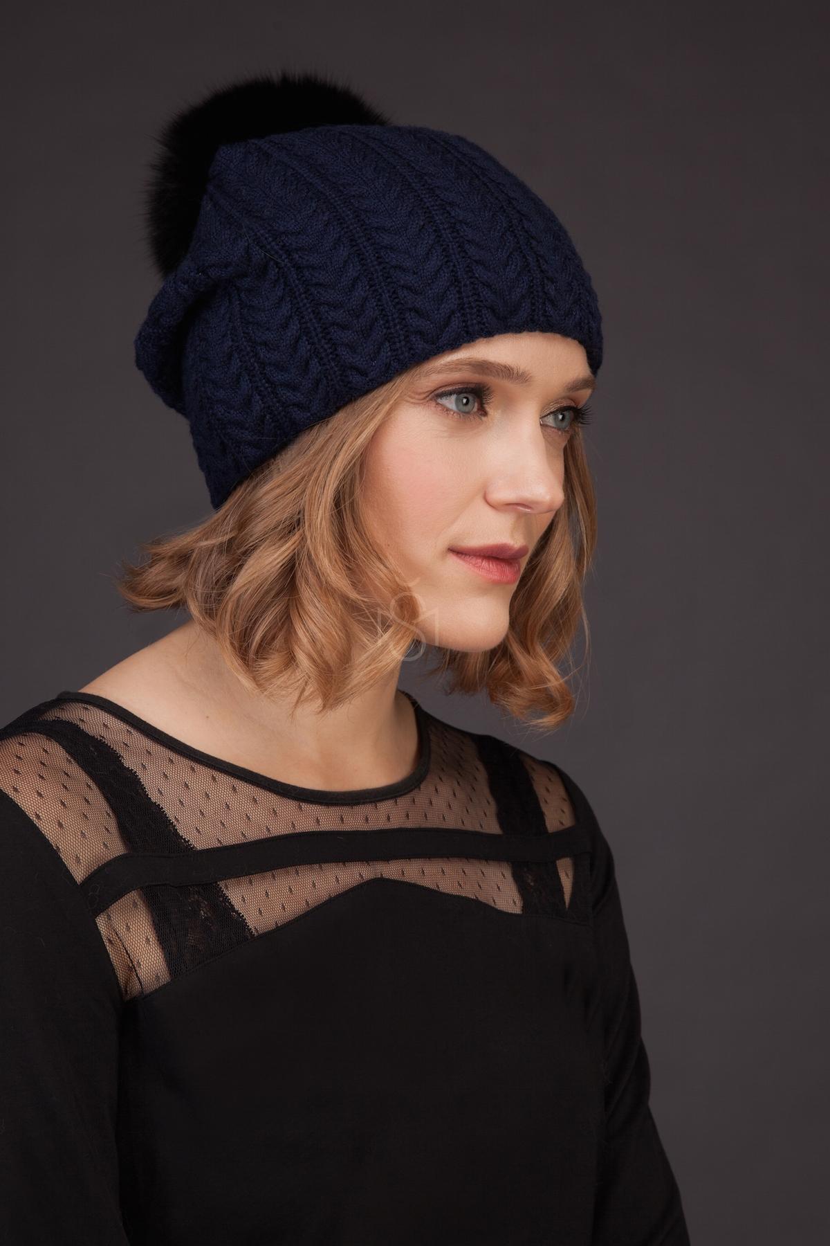 Cashmere hat with fox fur pom_pom_blue made by SILTA MADA fur studio in Vilnius