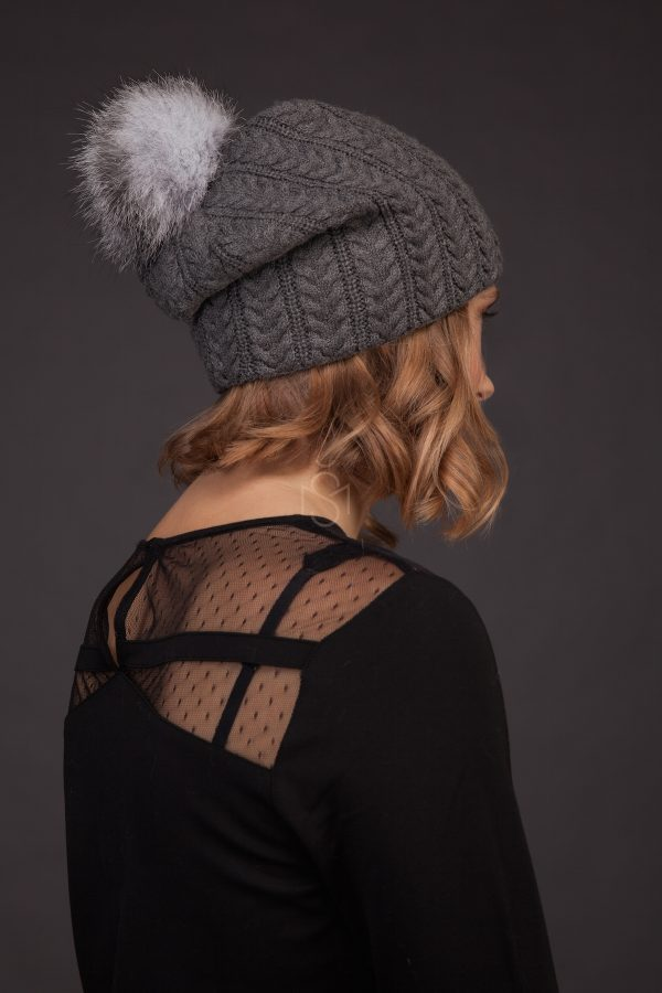 Cashmere hat with fox fur pom-pom_dark_gray_made by SILTA MADA fur studio in Vilnius