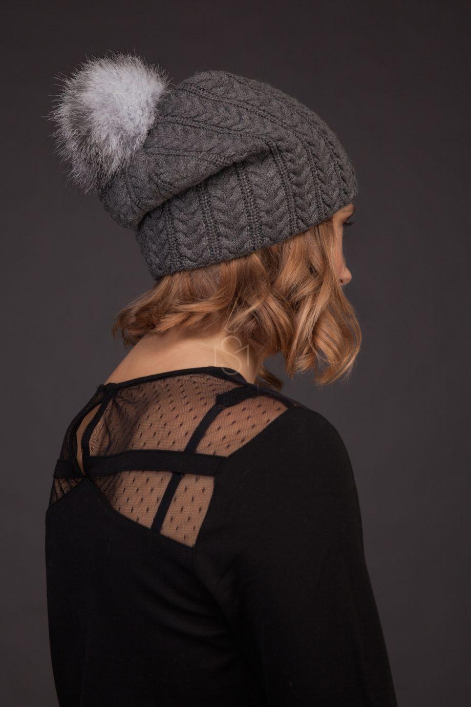 Cashmere hat with fox fur pom-pom_dark_gray_made by SILTA MADA fur studio in Vilnius